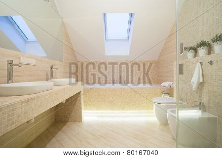 Bathroom Interior In Beige Color