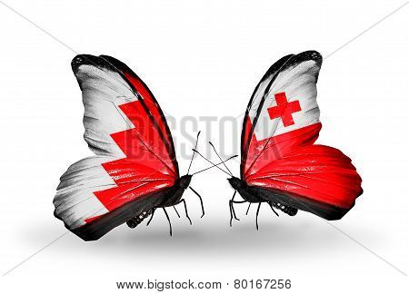 Two Butterflies With Flags On Wings As Symbol Of Relations Bahrain And  Tonga