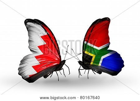 Two Butterflies With Flags On Wings As Symbol Of Relations Bahrain And South Africa