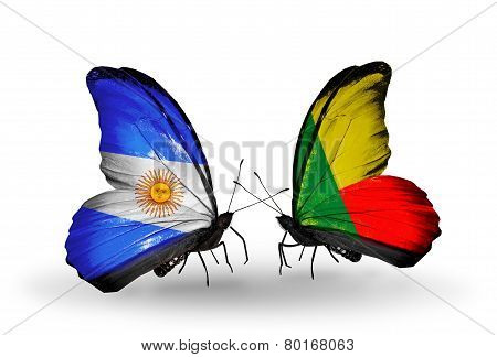Two Butterflies With Flags On Wings As Symbol Of Relations Argentina And Benin