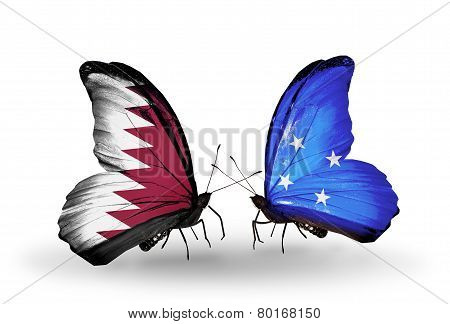 Two Butterflies With Flags On Wings As Symbol Of Relations Qatar And Micronesia