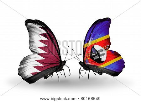 Two Butterflies With Flags On Wings As Symbol Of Relations Qatar And Swaziland