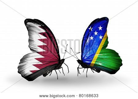 Two Butterflies With Flags On Wings As Symbol Of Relations Qatar And Solomon Islands