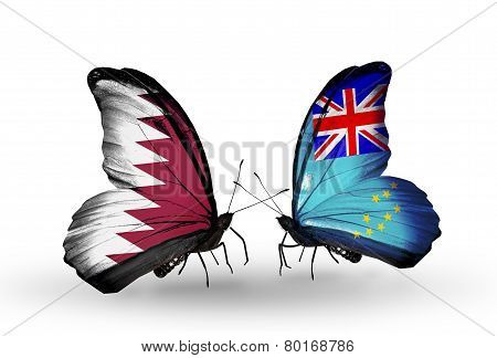 Two Butterflies With Flags On Wings As Symbol Of Relations Qatar And Tuvalu