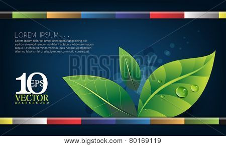 eps10 vector leaf elements with water droplets with multicolored straight bars on blue background ecology concept design
