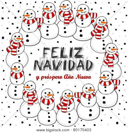 Happy snowmen with scarfs wreath Christmas illustration with Merry Christmas in Spanish on white