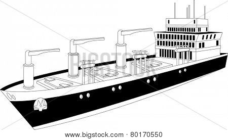 Illustration of a cargo ship of dry bulk carrier with  three cranes