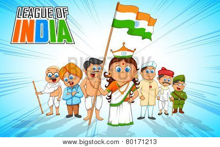 illustration of kids in fancy dress of Indian freedom fighter