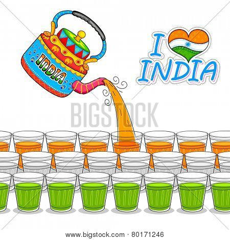 illustration of India kitsch art of kettle and glass