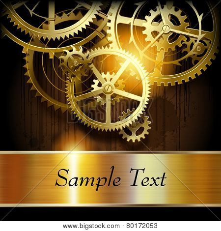 Metallic gold banner and  gear wheels on dark dirty surface with blots. Technical background. Vector illustration
