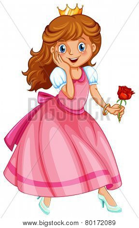 Illustration of a beautiful princess holding a rose