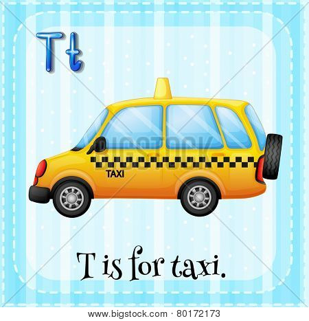 Illustration of a letter t is for taxi