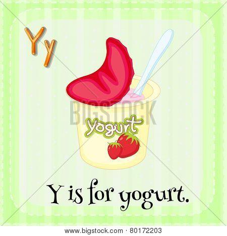Illustration of a letter y is for yogurt