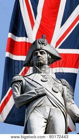 Nelson Statue Over Union Jack
