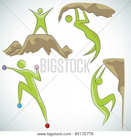 An image of a rock climbing icon set.