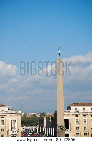 Peter's Square obelisk and colonnades in the Vatican City