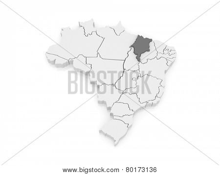Map of Maranhao. Brazil. 3d
