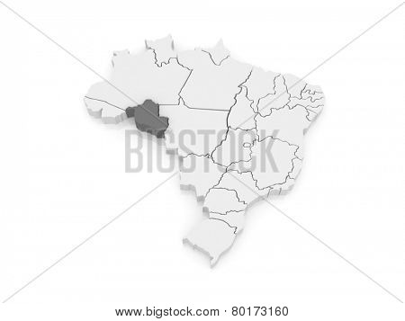 Map of Rondonia. Brazil. 3d