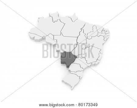 Map of Mato Grosso do Sul. Brazil. 3d