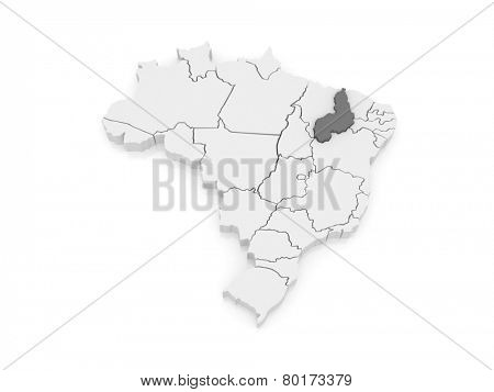 Map of Piaui. Brazil. 3d