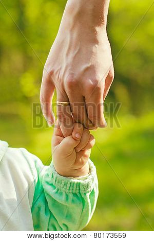 Hand Baby Holds A Finger Mom