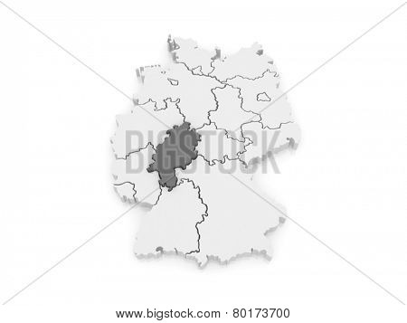 Map of Hesse. Germany. 3d