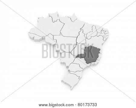 Map of Minas Gerais. Brazil. 3d