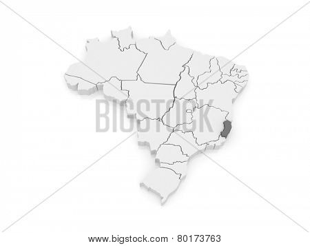 Map of Espirito Santo. Brazil. 3d