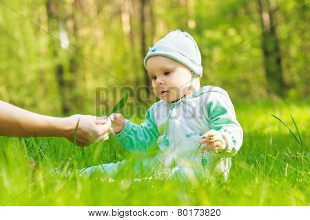 Baby In The Park Takes In Hand