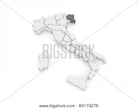 Map of Friuli-Venezia Giulia. Italy. 3d