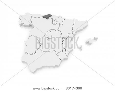 Map of Cantabria. Spain. 3d