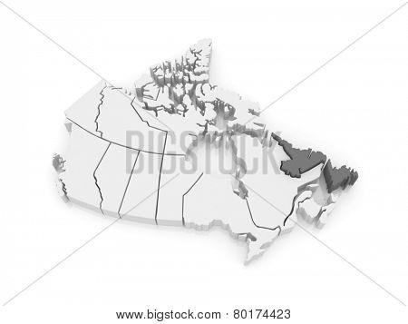 Map of Newfoundland and Labrador. Canada. 3d