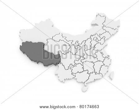 Map of Tibet. China. 3d