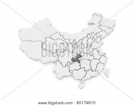 Map of Chongqing. China. 3d
