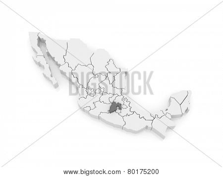 Map of Mexico City. Mexico. 3d