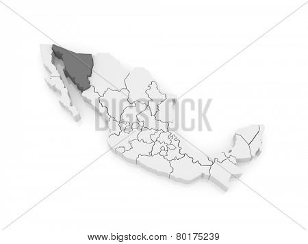 Map of Sonora. Mexico. 3d