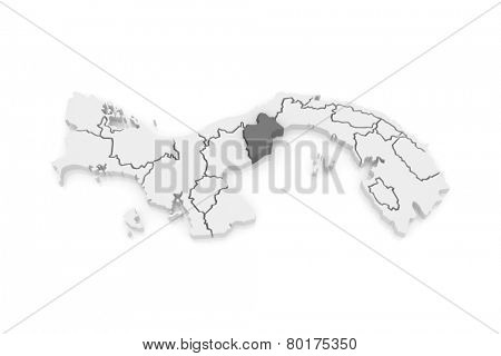 Map of Western Panama. Panama. 3d