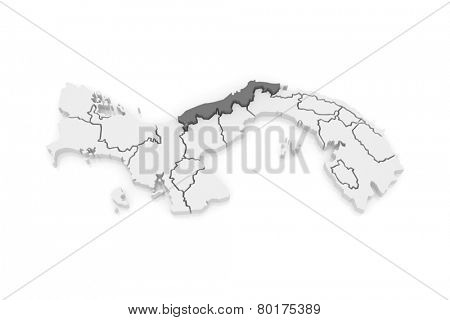 Map of Colon. Panama. 3d