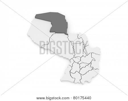 Map of Alto Paraguay. Paraguay. 3d