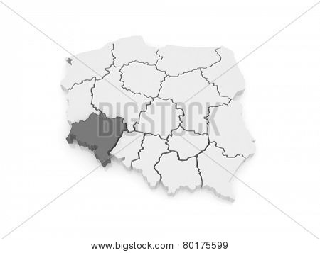 Map of Lower Silesia. Poland. 3d