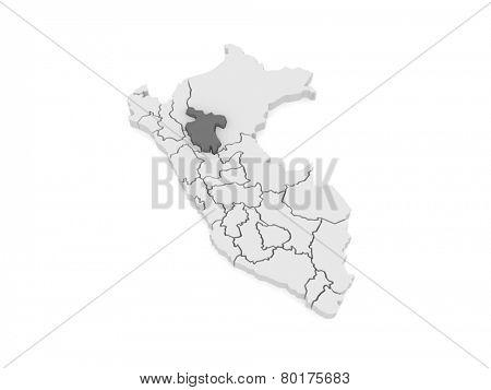 Map of San Martin. Peru. 3d