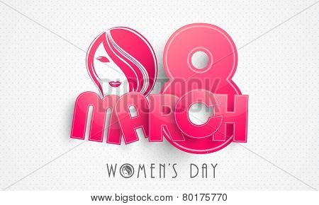 Pink glossy paper text 8 March with young fashionable girl face for Happy Women's Day celebration on abstract background.