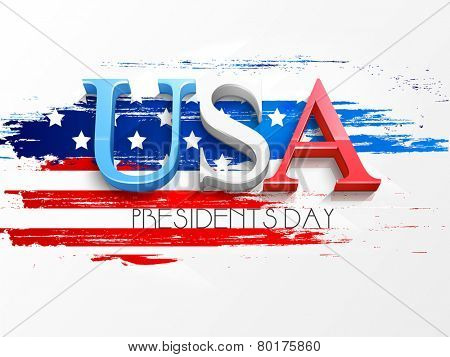 3D text USA on American Flag color background for Presidents Day celebration.