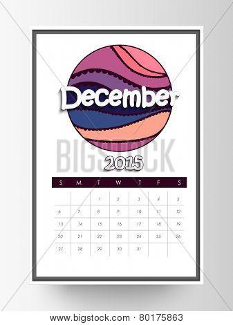 Monthly calendar of December 2015 on white background.