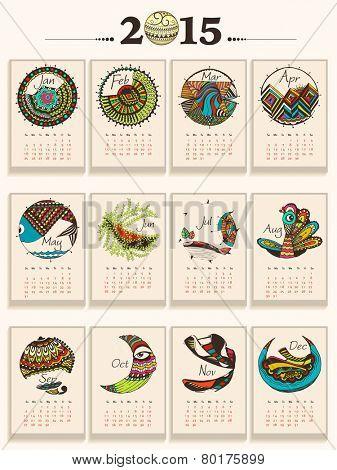 Creative annual calendar of New Year 2015.