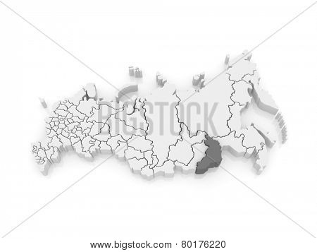 Map of the Russian Federation. Trans-Baikal Territory. 3d