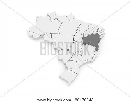 Map of Bahia. Brazil. 3d