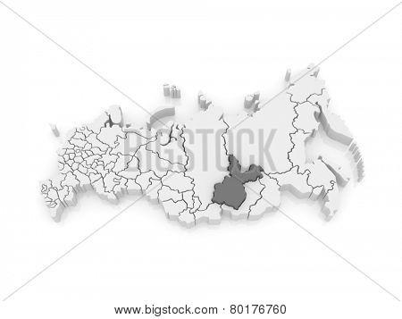 Map of the Russian Federation. Irkutsk region. 3d