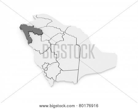 Map of Tabuk. Saudi Arabia. 3d