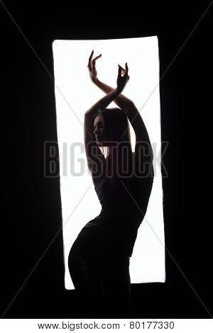 Silhouette of elegant dancer posing in frame